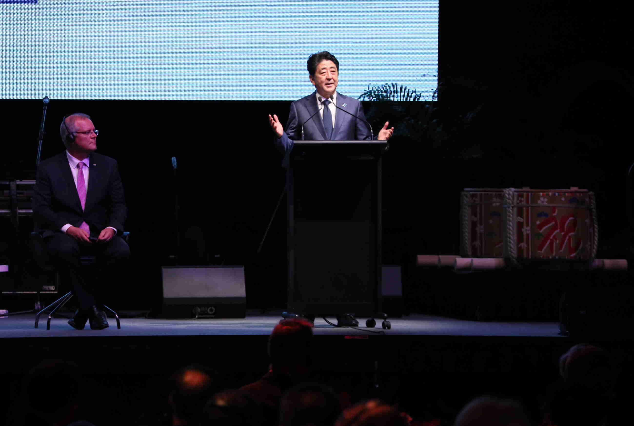 写真:イクシス記念式典で挨拶する安倍総理3