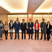 イスラエル・パレスチナ合同青年招へい参加者による河野外務大臣表敬
