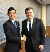 辻政務官とトルコ外務副大臣との握手