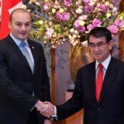 (写真1)バフタゼ・ジョージア首相と握手する河野外務大臣