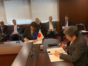 日EU戦略的パートナーシップ協定合同委員会第1回会合の様子