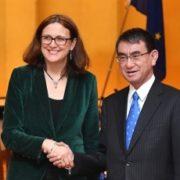 (写真1)握手する河野外務大臣とマルムストローム欧州委員