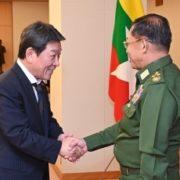 茂木外務大臣とミン・アウン・フライン・ミャンマー国軍司令官との会談1