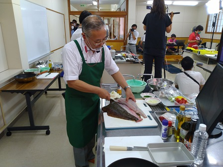 オンライン料理イベントの模様(於:相馬市)