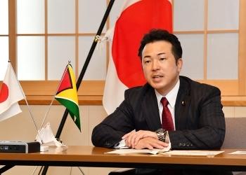 宇都外務副大臣とトッド・ガイアナ外務・国際協力大臣とのテレビ会談1