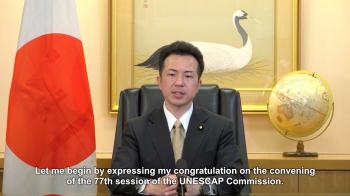 ビデオメッセージを発出する宇都外務副大臣