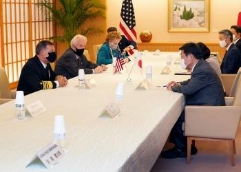 アクイリノ米インド太平洋軍司令官による茂木外務大臣に対する表敬の様子